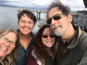 Mini Lager Rhythms reunion on the ferry from Seattle WA – Laurie, me, Elizabeth, Angelo (photographer: Laurie)